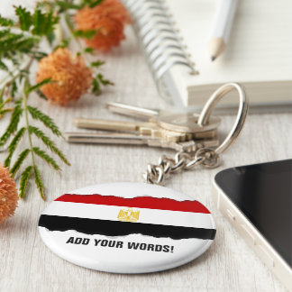Classic Flag of Egypt Basic Round Button Key Ring