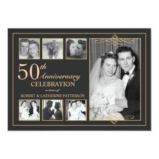 Classic Gold & Black Photo Wedding Anniversary 13 Cm X 18 Cm Invitation Card