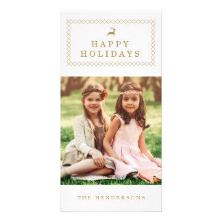 Classic Gold Reindeer Holiday Photo Card