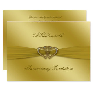 Classic Golden 50th Wedding Anniversary 5x7 Invite