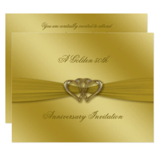 Classic Golden 50th Wedding Anniversary Invite