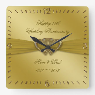 Classic Golden 50th Wedding Anniversary Wall Clock