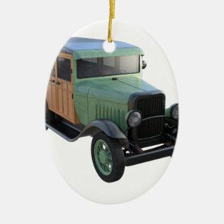 Classic Green Woody Truck Christmas Ornament