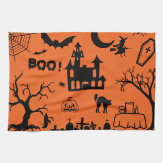 Classic Halloween Collage Tea Towel