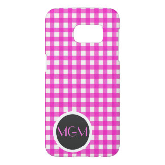 Classic Hot Pink Gingham Pattern with Monogram