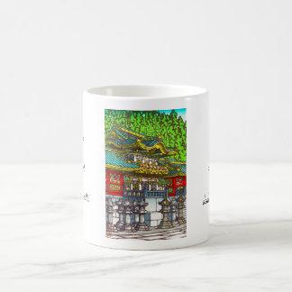 Classic japanese themed oriental scenery temple basic white mug