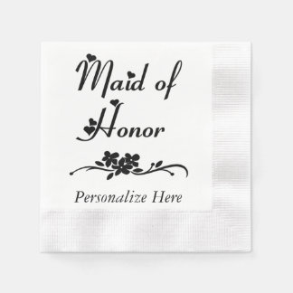 Classic Maid Of Honor Paper Napkins