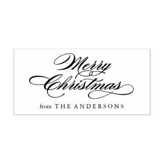 Classic Merry Christmas Script Return Address Rubber Stamp