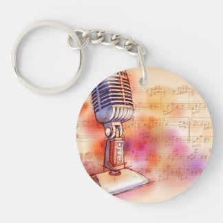 Classic Microphone, watercolor background Key Ring