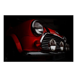 Classic Mini with rally lights Poster