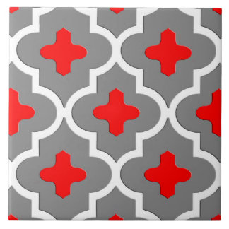 Classic Moroccan Tile, Gray / Grey and Red Tile