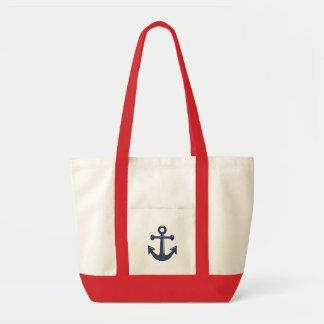 Classic Nautical Blue Boat Anchor Sailing Theme Impulse Tote Bag