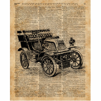 Classic Old Car,Vintage Vehicle Dictionary Art Standing Photo Sculpture