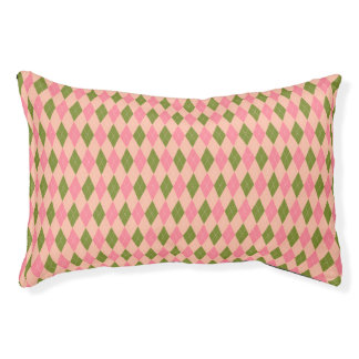 Classic Pink and Green Argyle Diamond Pattern Pet Bed