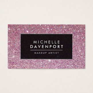Classic Pink Glitter Makeup Artist Business Card