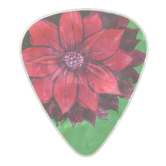 CLASSIC POINSETTIA in RED Pearl Celluloid Guitar Pick