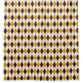 Classic Preppy Argyle in Garnet and Gold Shower Curtain