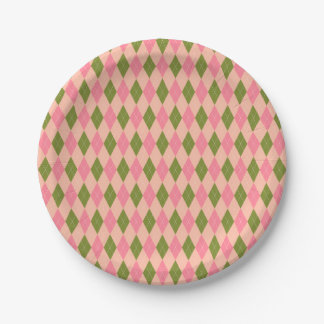 Classic Preppy Argyle in Pretty Pink and Green Paper Plate