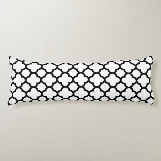 Classic Quatrefoil Body Pillow - Black and White