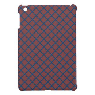 Classic Quatrefoil Brick Red and Blue iPad Mini Case