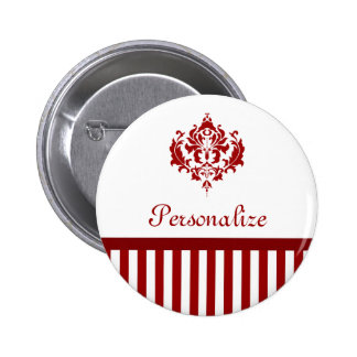 Classic Red and White Damask With Stripes Pins