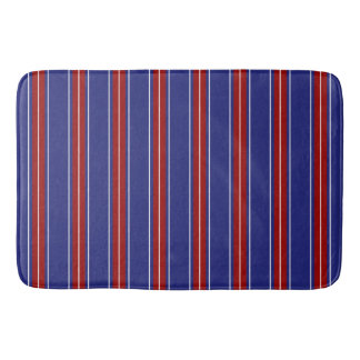 Classic Red and White Stripes on Nautical Blue Bath Mat