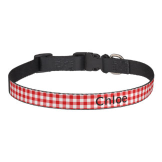 Classic Red Gingham Check Medium Dog Collar