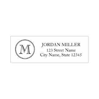 Classic Round Border Monogram Name Address Self-inking Stamp