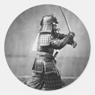 Classic Samurai Photo Classic Round Sticker