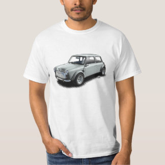 Classic Silver 1969 Mini Car on White T-Shirt