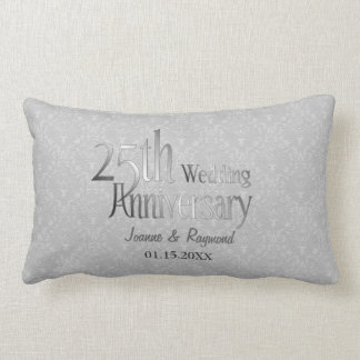 Classic Silver Damask 25th Wedding Anniversary Lumbar Cushion