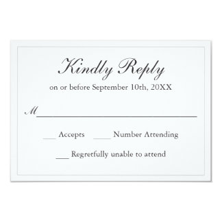 Classic Simple Elegance Wedding RSVP Card