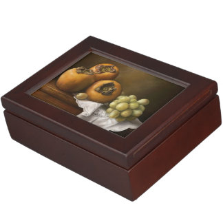 Classic still life with persimmons and grape art keepsake box