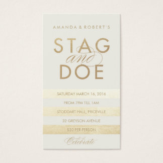 Classic Stripe Stag & Doe Ticket, Gold Business Card