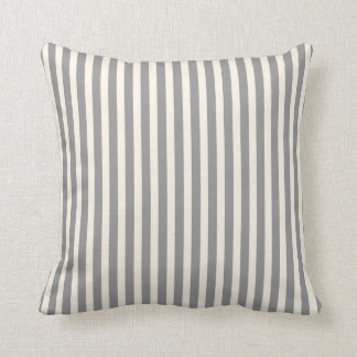 Classic Thin Stripes in Grey and Cream Throw Pillow