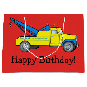 Classic Tow Truck Happy Birthday Large Gift Bag