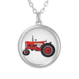 Classic Tractor Round Pendant Necklace