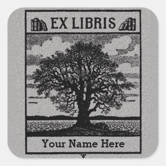 Classic Tree with Books Ex Libris Bookplate - Grey Square Sticker