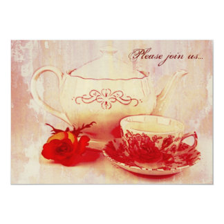 Classic victorian grunge tea party 13 cm x 18 cm invitation card