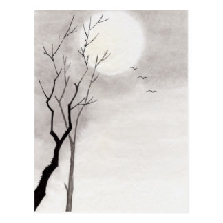 Classic vintage japanese night moon scenery sumi-e postcard