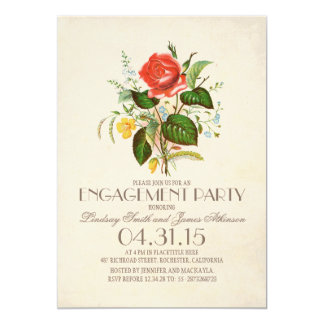 classic vintage watercolor flower engagement party card