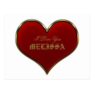 Classic Vivid Red Heart with Gold Metallic Border Postcard