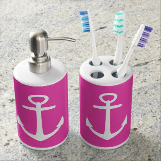 Classic White Nautical Anchors on Diva Pink Soap Dispenser And Toothbrush Holder