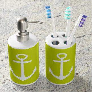 Classic White Nautical Anchors on Lime Green Soap Dispenser And Toothbrush Holder