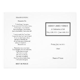 Classic White Order of Service Funeral Program 21.5 Cm X 28 Cm Flyer