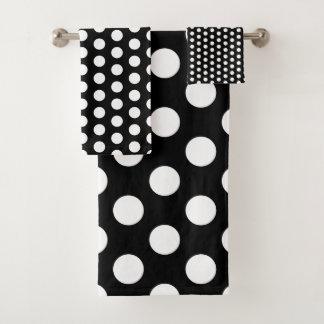 Classic White Polka Dots on Black Bath Towel Set