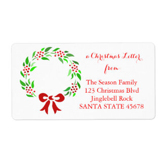 Classic wreath Christmas address label
