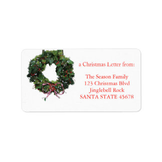 Classic wreath Christmas label Address Label
