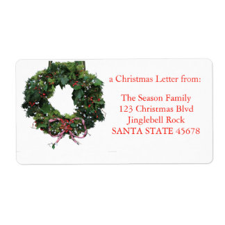 Classic wreath Christmas label Shipping Label