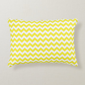 Classic Yellow and White Chevron Pattern Decorative Cushion